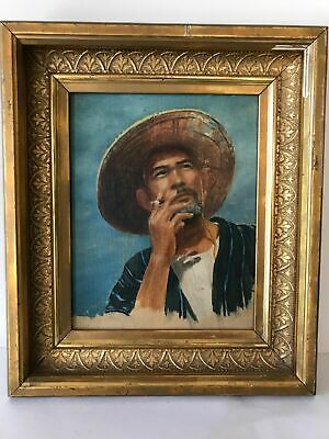 Vintage Mid Century Portrait Painting Vietnamese Man Smoking  Early 20th Frame