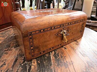 Victorian Burr Walnut Inlaid Jewellery Box, Restored Interior. Charming Box