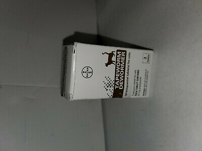 Bayer Tapeworm Dewormer for Cats Bayer 3 Tablets EXP:04/2022