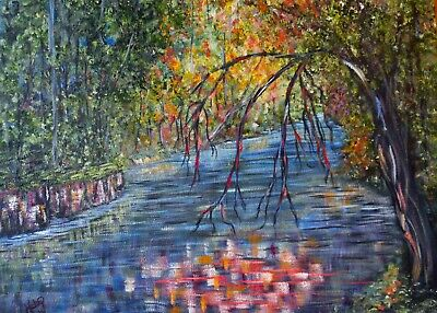 Lazy River ACEO art prints from painting, 2.5x3.5 mini artwork colorful trees