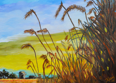 Aceo art prints, Wheat Field landscape miniature artwork, from painting, signed