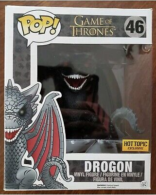 "Funko Pop! Game Of Thrones Drogon #46 6"" Inch Hot Topic Exclusive Red Eyes Rare!"