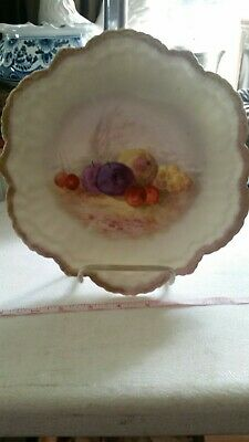 Antique 1900s Limoges Hand Painted Plate France, Leonard Gold Rim with Fruits