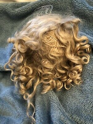 """Antique Mohair 13"""" Blonde Curly Doll Wig For French Or German Bisque Doll"""