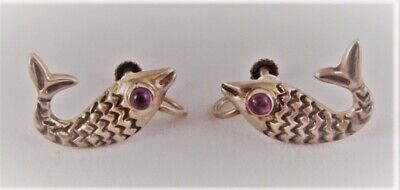 ANTIQUE VINTAGE MEXICO STERLING SILVER KOI FISH EARRINGS Amethyst Eyes Signed JP