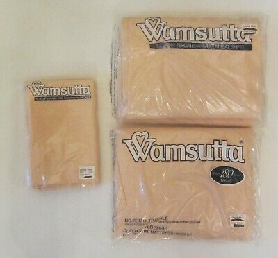 NIP Vintage Wamsutta Queen Sheets SET Flat Fitted Cases Bed Sheet PEACH NOS flaw