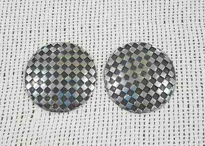 Vintage Round Checkered Sterling Silver Hallmarked Switzerland Earrings