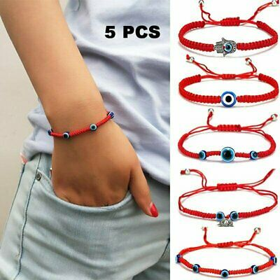 5pcs/set Lucky Evil Eye Beaded Bracelet Rope String Braided Bangle Owl Palm Gift