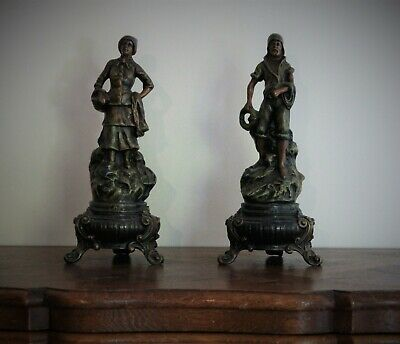 "Pair of French Brittany Bronzed Spelter Figurines ""Qand Meme"""