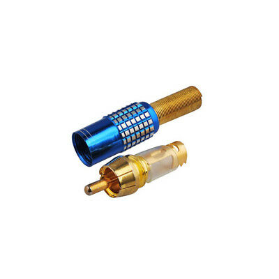 RCA straight male crimp Blue connector for cable 50-5