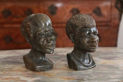 Pair of African Male & Female Bust Hand Carved Stone Ethnographic Sculptures