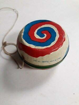 Vintage Japanese Tin YoYo- Double Sided with Colorful Swirl Image