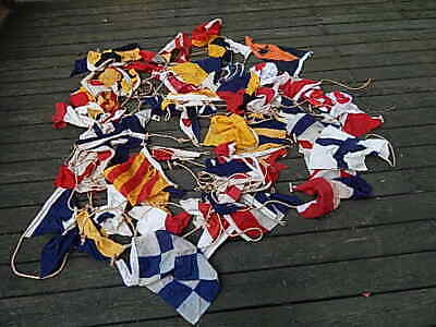 Vintage Large Assortment Of Nylon/cloth Nautical Flags W Rope Usa Sale