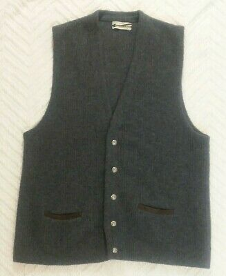 Puritan Sportswear Gray Wool Blend Vintage Button up Sweater Vest Hipster Large