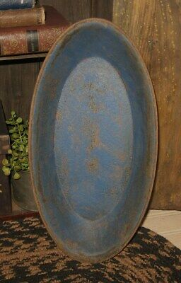 Wood Dough/Candle/Display BOWL*BLUE*Primitive/French Country Farmhouse Decor
