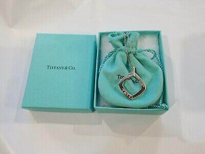 Authentic Tiffany & Co 1837 Square Pendant Necklace Sterling Silver on 925 Chain