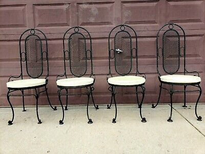 Vintage MCM Wrought Iron Gothic Patio Chairs Mesh Back High Back Set of FOUR (4)