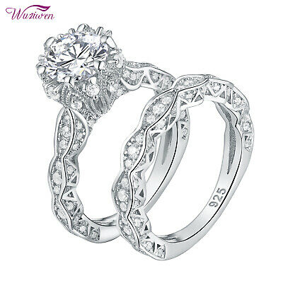 Vintage Round Cz 925 Sterling Silver Wedding Engagement Ring Set For Women Sz 7