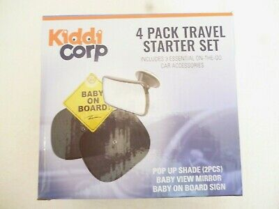 KiddiCorp 4 Pack Travel Starter Set 2 Pop Up Shades Baby View Mirror & On Board