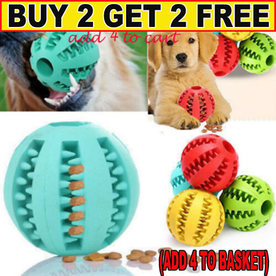 Dog Chew Ball Toy Rubber Dental Clean Teeth Healthy Treat Gum Bite Puppy Pet GR