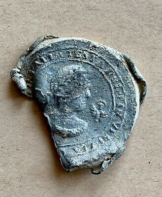 A large Medieval theriac bottle lead seal with latin inscription. Impressive!