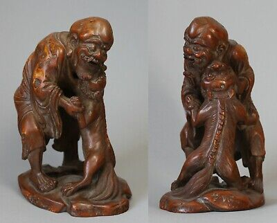 Stunning 19th Century Antique Chinese Bamboo Figure of a Man and a Lion