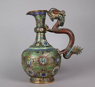 Lovely 19th Century Antique Chinese Cloisonne Jug with Dragon Handle