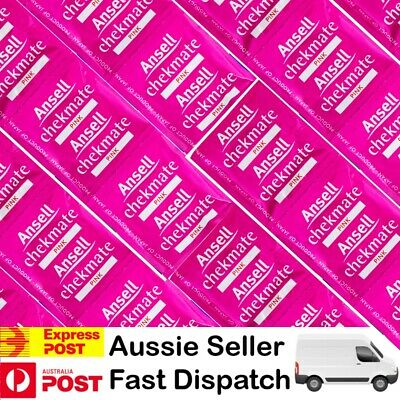 1-144 Condoms Ansell Chekmate Pink Bulk Buy Pack Condom 55mm Width $2.50 Express