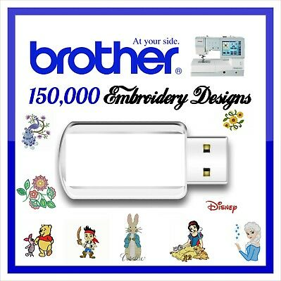 150,000 Brother Machine Embroidery Designs files PES on USB Drive