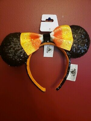 NWT Disney Parks 2019 Halloween Candy Corn Bow Minnie Mouse Ears Headband New