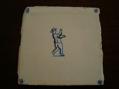 Antique Delft Tile -  Figure waving his hands   20/185