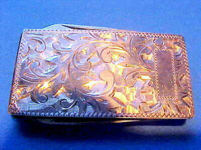 Great Vintage Japanese Sterling Silver Money Clip Never Used Knife Nail File