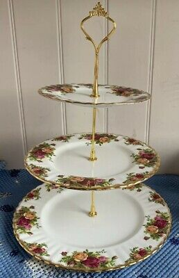 ROYAL ALBERT Old Country Roses 3 Tier Cake Stand. VGC.