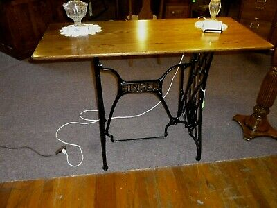 Antique Oak Table Singer cast iron base industrial look refinished 1900's
