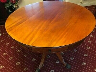 Beautiful Yew Drum Top Table with drawers and Claw Feet