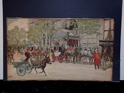 "LG ANTIQUE TIGER OAK FRAME 22+ X 33"" w/ COLORFUL ENGLISH ANTIQUE COACHING SCENE"