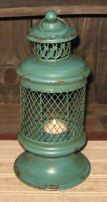 LANTERN CANDLE HOLDER*TURQUOISE*Primitive Home/French Country Farmhouse Decor