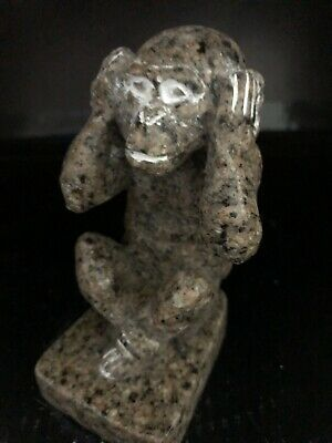 Rare Ancient Egyptian Faience Amulet Granite Baboon 26th DYN 680 Bc