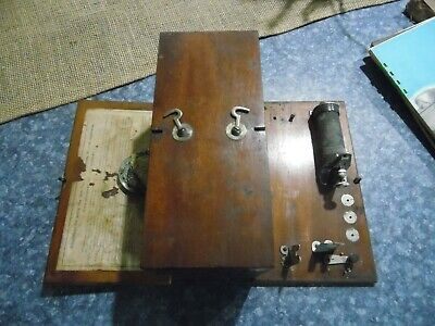 Antique HOME MEDICAL APPARATUS Hardwood Box  HINGED TOP & BOTTOM Quack Medicine