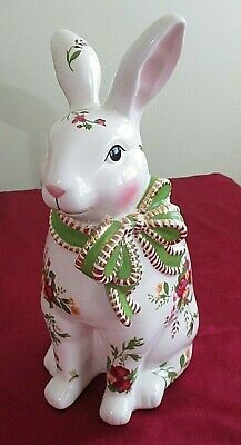 "Large Royal Albert Old Country Roses Vintage 12"" Bunny Rabbit Figurine"