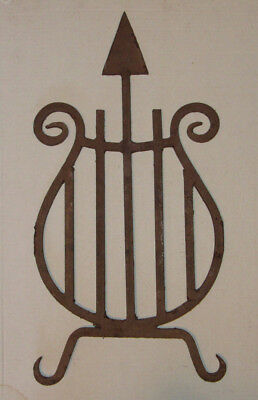 Antique Architectural Wrought Iron Salvage, Steampunk Piece, Harp with Arrow,