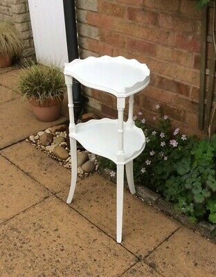 Antique Shabby Chic Mahogany Two Tier Corner / Plant / Side / Bedside Table.