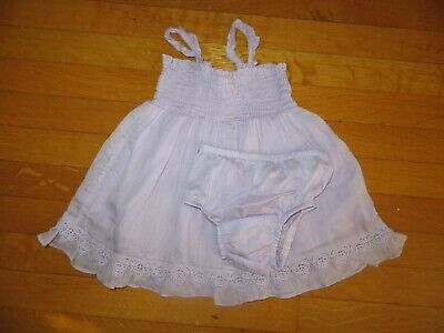 Baby Gap girl's silk blend lilac purple dress + briefs 3-6 month lace party