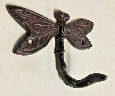 SET OF 9 DRAGONFLY HOOKS rustic brown cast iron hooks for bathroom kitchen