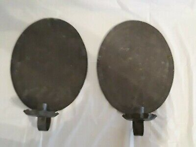 PAIR of ANTIQUE OVAL SOLDERED TIN PRIMATIVE WALL CANDLE SCONCES