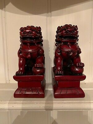 Vintage Chinese Lacquer  Foo lions