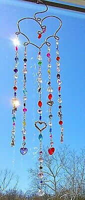 Heart Suncatcher-Angels/Star/Hearts/Bird-Crystal-Handcrafted-3 Dimensional # 909