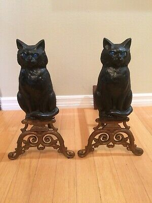 Vintage Halloween Cast Iron Figural Black Cat Fireplace Andirons, Glass Eyes
