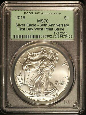 2016 American Silver Eagle PCGS MS70 30th Anniversary - Free Shipping USA