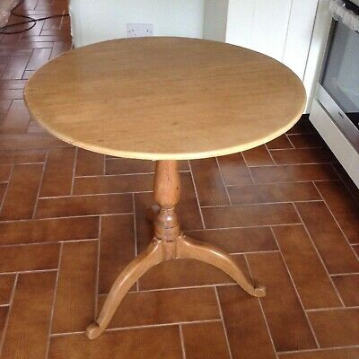 Vintage tilt-top solid pine round pedestal breakfast table for two/three
